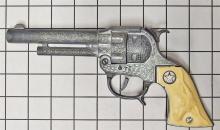 "Lot 4: Hubley TEXAN JR Toy Cap Gun, White Longhorn Grips, 9""L"