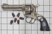 "Lot 9: 1955 Nichols STALLION 32 Six Shooter Toy Cap Gun & Bullets, Black Stag Grips, 8""L"