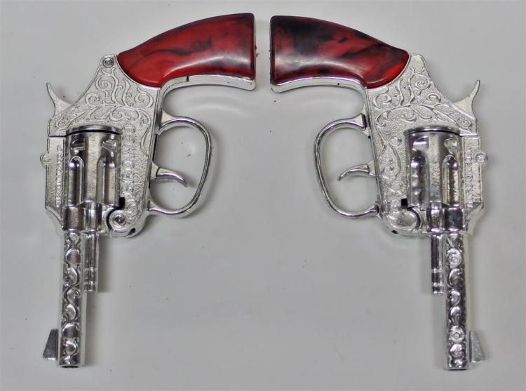 Lot 10: Crescent BRONCO Holster with 2 - 100 Shot Repeater Toy Cap Guns, Made in England, Original Box