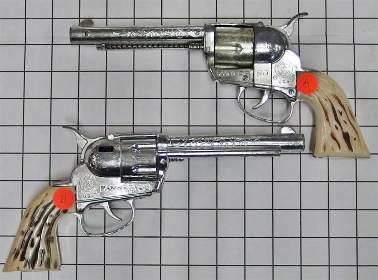 """Lot 11: 1959-65 Pair of Mattel FANNER 50 Toy Cap Guns with Double Black Leather Holsters, 11""""L"""