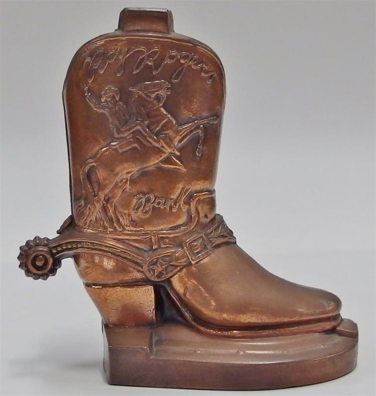 "Vintage 1950's Roy Rogers Boot Bank by The Almar Metal Art Co, 5-1/4""H"