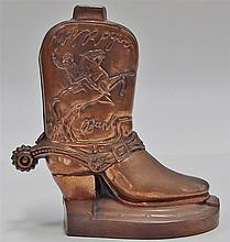 """Lot 13: Vintage 1950's Roy Rogers Boot Bank by The Almar Metal Art Co, 5-1/4""""H"""