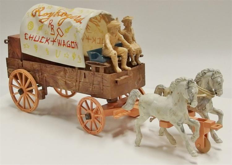 "Roy Rogers Toy Chuckwagon with Roy Rogers & Dale Figures 16""L"