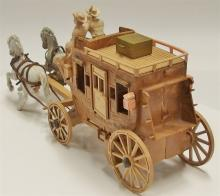 """Lot 19: Roy Rogers Toy Stagecoach with Roy Rogers & Dale Figures, 15""""L"""