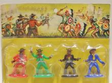 Lot 23: Vitnage Toy Cowboy & Indian Set of 8 Figures, Jean West Germany. Original package