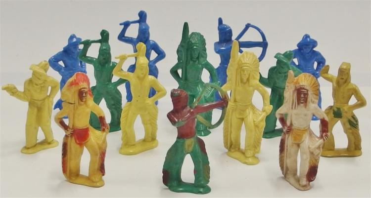 "Vintage Hard Plastic 14 Toy Cowboy & Indian Figures, 3"", Toxic, Display Only"