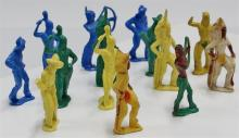 """Lot 25: Vintage Hard Plastic 14 Toy Cowboy & Indian Figures, 3"""", Toxic, Display Only"""