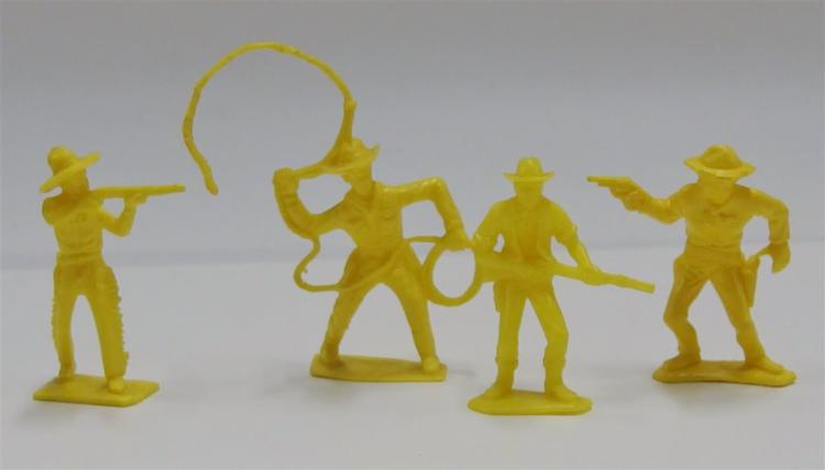 "4 Toy Cowboy Figures, 3"", Yellow"