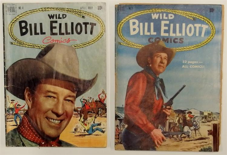 2 WILD BILL ELLIOTT - 1950 #3 - 1951 #4 Dell Western Cowboy  Comic Books