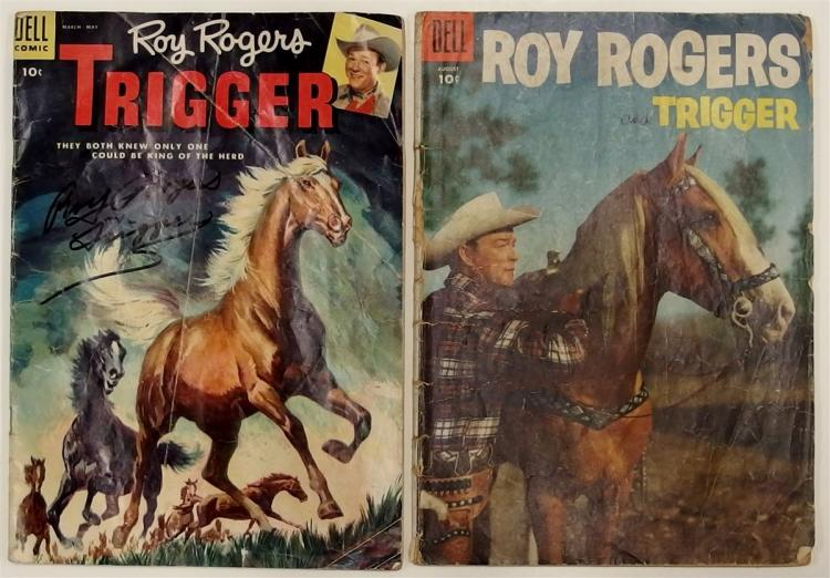 2 ROY ROGERS TRIGGER - 1955 #16 Signed - 1955 Vol. 1 #92 Dell Western Comic Books