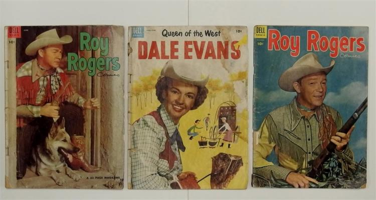 3- 2 ROY ROGERS - 1954 Vol. 1 #78 & #84, Queen of the West DALE EVANS 1954 #3 Dell Western Comic Books