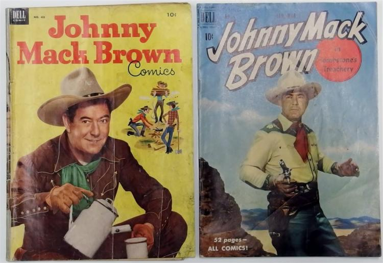 2 JOHNNY MACK BROWN - 1953 #455 - 1951 #3 Dell Western Cowboy Comic Books
