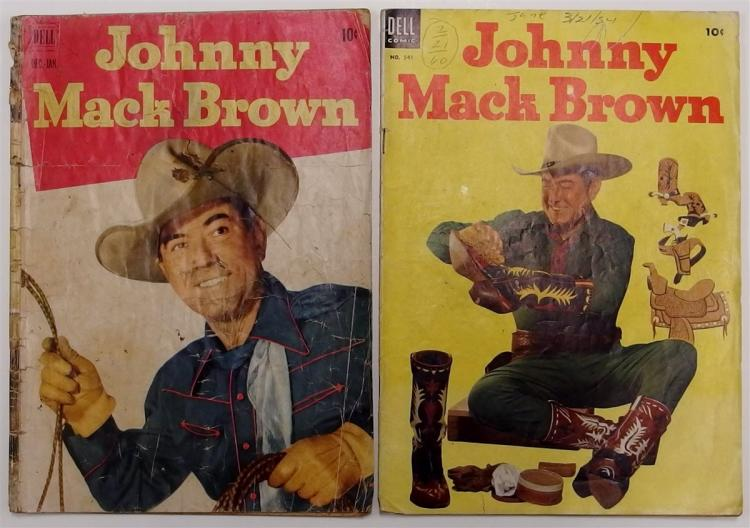 2 JOHNNY MACK BROWN - 1951-52 #8 - 1954 #541 Dell Western Cowboy Comic Books