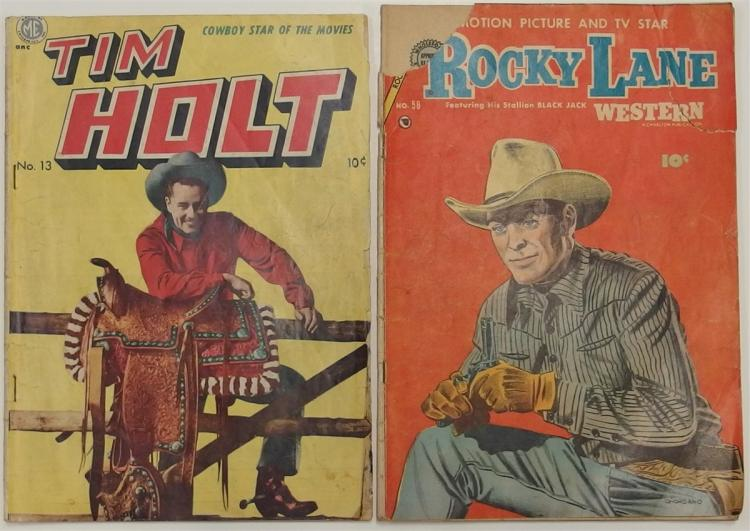 2 - TIM HOLT 1950 Vol 2 #13 - ROCKY LANE  1954 Vol 9 #58 Western Comic Books