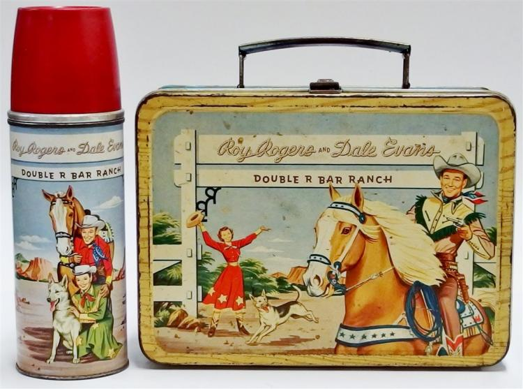 1953 ROY ROGERS & DALE EVANS Double R Bar Ranch Lunchbox with Thermos, All Original.