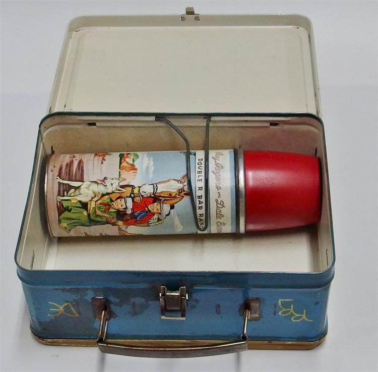 Lot 43: 1953 ROY ROGERS & DALE EVANS Double R Bar Ranch Lunchbox with Thermos, All Original.