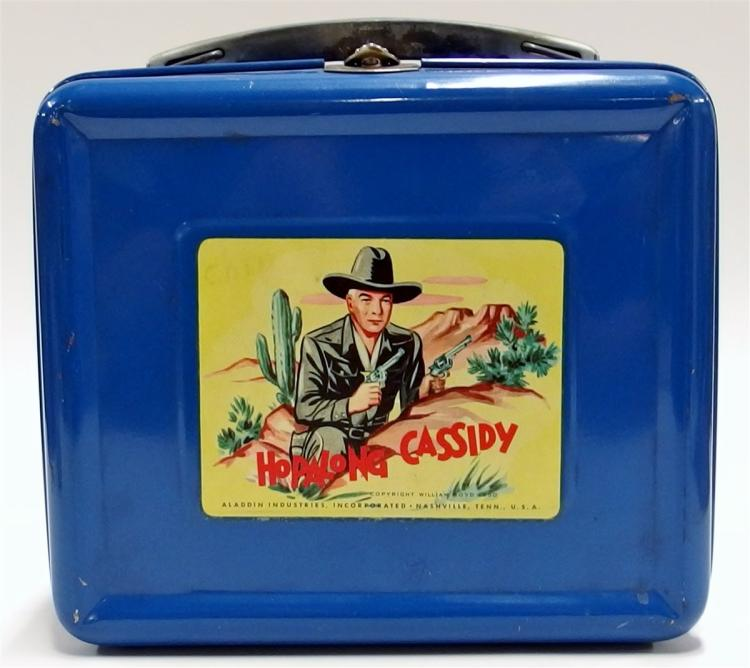 Lot 44: 1952 HOPALONG CASSIDY Blue Enamel Metal Lunchbox with Thermos, Excellent condition