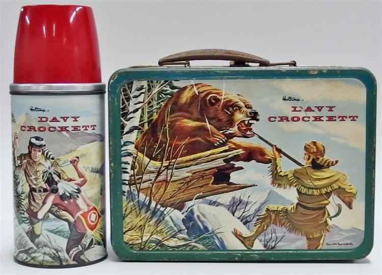 1955 Holtemp DAVY CROCKETT Metal Lunchbox with Thermos