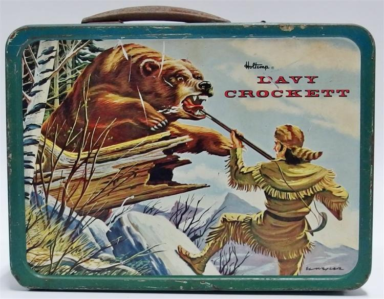Lot 45: 1955 Holtemp DAVY CROCKETT Metal Lunchbox with Thermos