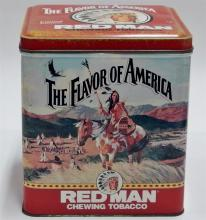 "Lot 46: 1991 Limited Edition REDMAN Indian Chewing Tobacco Tin, 7""H"