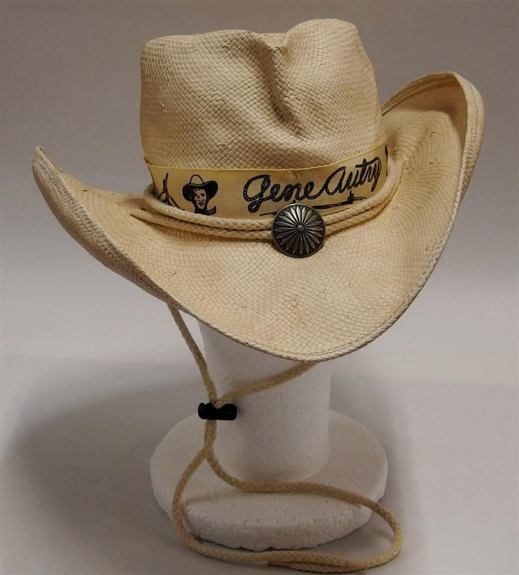 GENE AUTRY White Woven Champions Cowboy Hat by Shady Brady, Med.