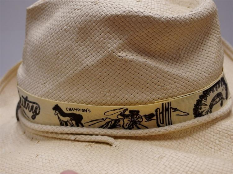 Lot 49: GENE AUTRY White Woven Champions Cowboy Hat by Shady Brady, Med.