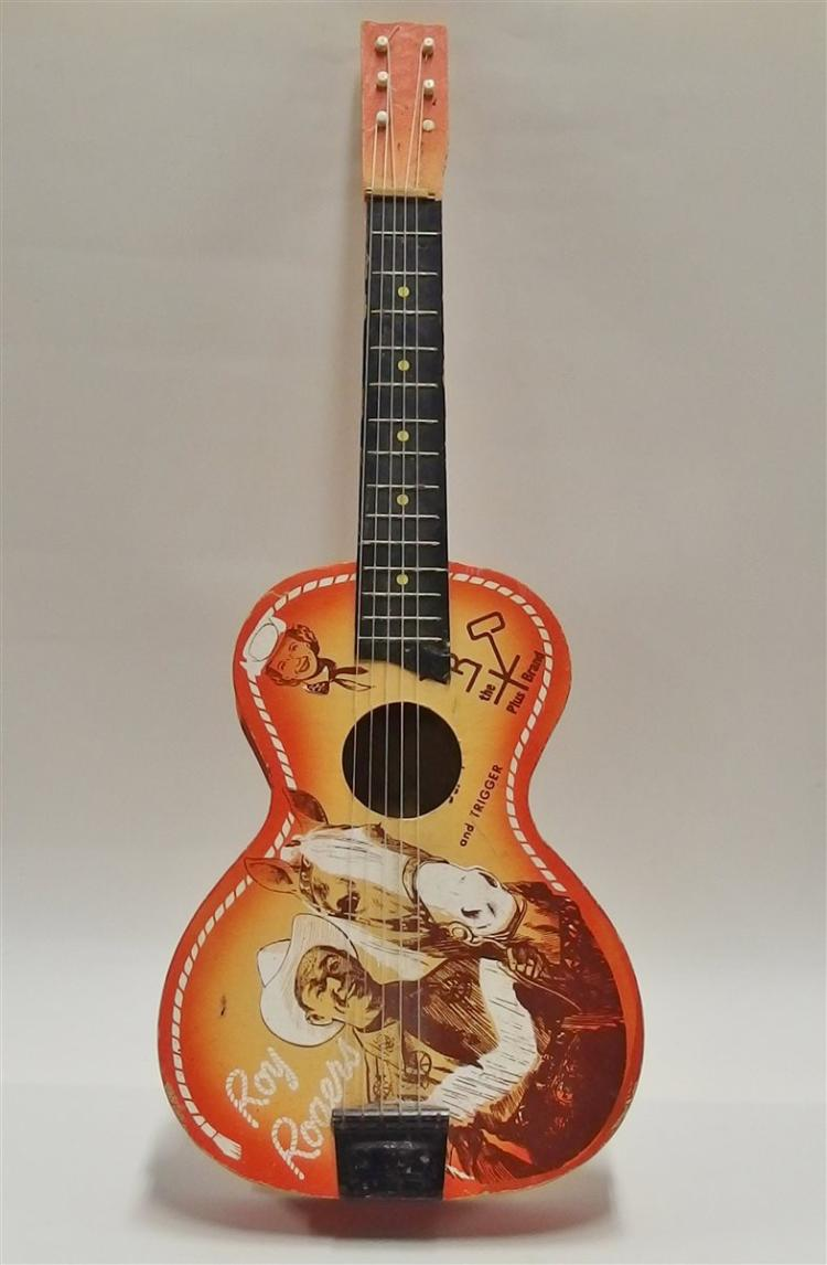 Vintage Roy Rogers and Trigger Wood & Cardboard Guitar, RR The Plus Brand. 6-String
