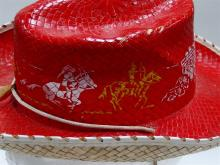 Lot 51: Vintage Red Woven Cowboy Hat with Stagecoach, Cowboys, Indians on Horseback. Small