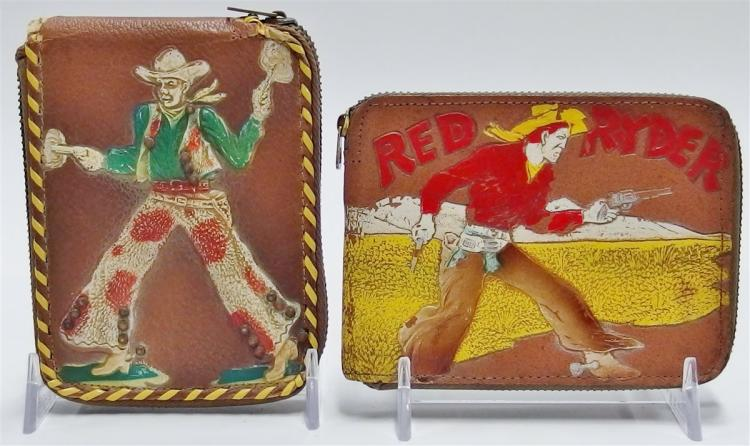2 - 1949 Leather Cowboy Wallets, RED RYDER, Rootin' Tootin' Shootin' Cowboy
