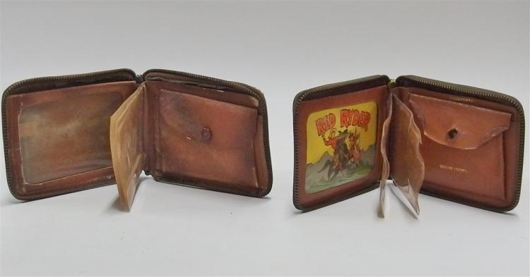 Lot 52: 2 - 1949 Leather Cowboy Wallets, RED RYDER, Rootin' Tootin' Shootin' Cowboy