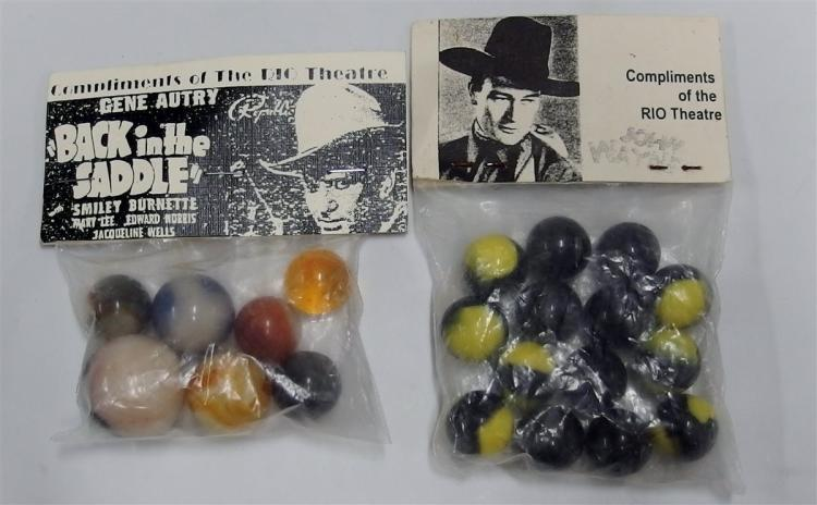 2 - Packages of Vintage Rio Theatre Marbles - Gene Autry, John Wayne