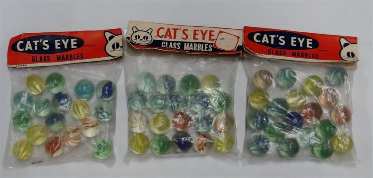 3 - Packages of Vintage Cat's Eye Glass Marbles, Japan