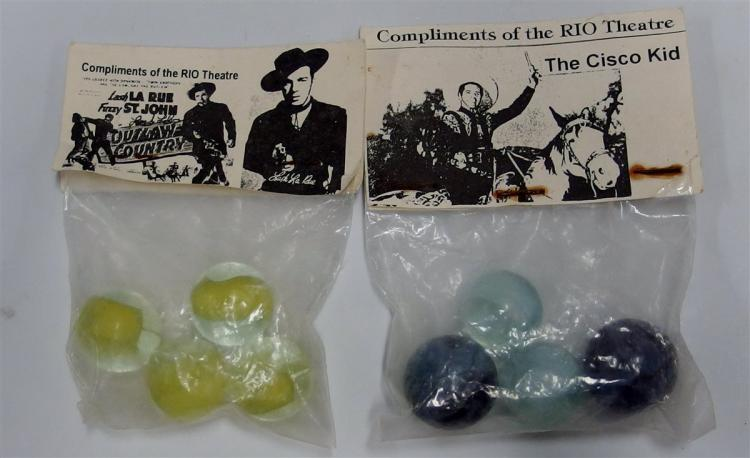 2- Packages of Vintage Rio Theatre Marbles - The Cisco Kid, Lash LaRue