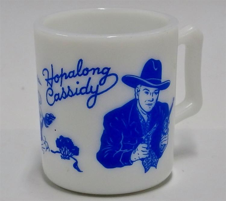 "1950's HOPALONG CASSIDY Hazel Atlas Blue on Milk Glass Mug, 3""H"