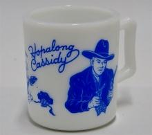 "Lot 60: 1950's HOPALONG CASSIDY Hazel Atlas Blue on Milk Glass Mug, 3""H"