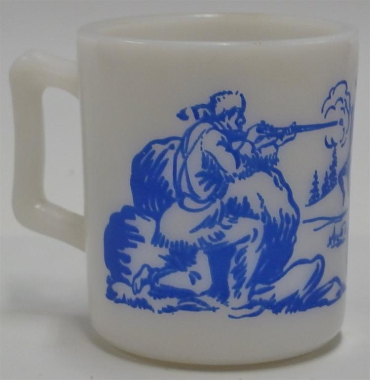 "1950's DAVY CROCKETT Famous Frontiersman Blue on Milk Glass Mug, 3""H"