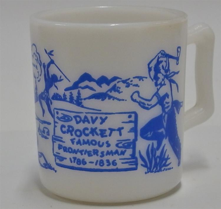 "Lot 61: 1950's DAVY CROCKETT Famous Frontiersman Blue on Milk Glass Mug, 3""H"
