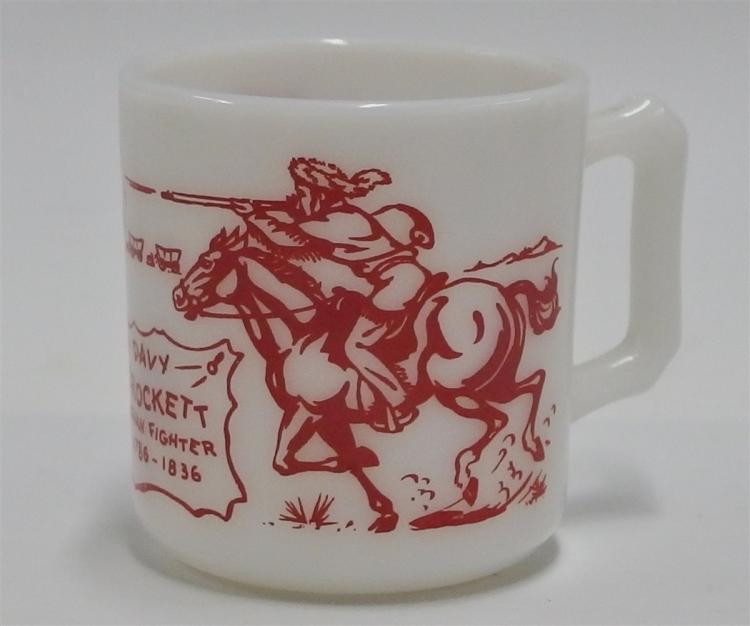 "1950's DAVY CROCKETT Indian Fighter Red on Milk Glass Mug, 3""H"