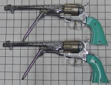 """Lot 65: 1959-65 Pair of Hubley COLT 45 Revolving Cylinder Toy Cap Gun, Turquoise Grips, 14""""L, Dbl. Leather Holster"""
