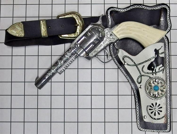 "1970 Hubley/Gabriel PONYBOY Toy Cap Gun, White Star Grips, 10""L, Bronco Buster Holster"