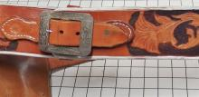 "Lot 70: 1950's Peacemaker Six Shooter Toy Cap Gun BKA98 Spain 11"", Adult-size Leather Holster"