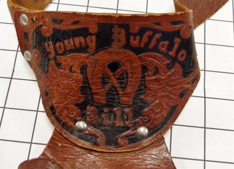 "Lot 71: Lone Star BIG SIX GUN Toy Cap Gun By Lone Star, England, Black Horse Head Grips 11""L, YOUNG BUFFALO BILL Holster"