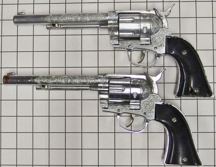"""Lot 75: 1960-65 Hubley RIC-O-SHAY .45 Toy Cap Gun, 12""""L, Adult-size Black Leather Double Holster"""