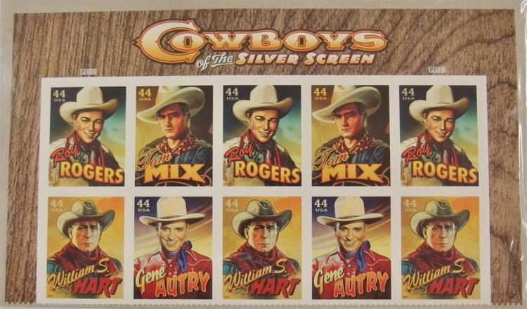 10 Cowboys of the Silver Screen USA Postage Stamps Sheet 44 cent