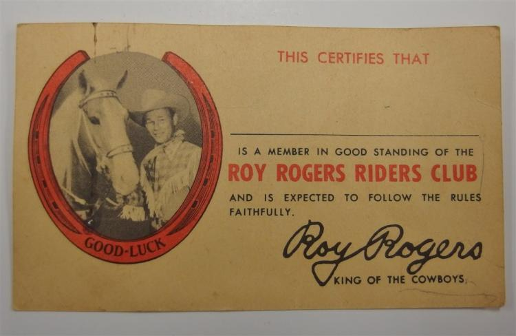 Vintage 1950's ROY ROGERS RIDERS CLUB Membership Card