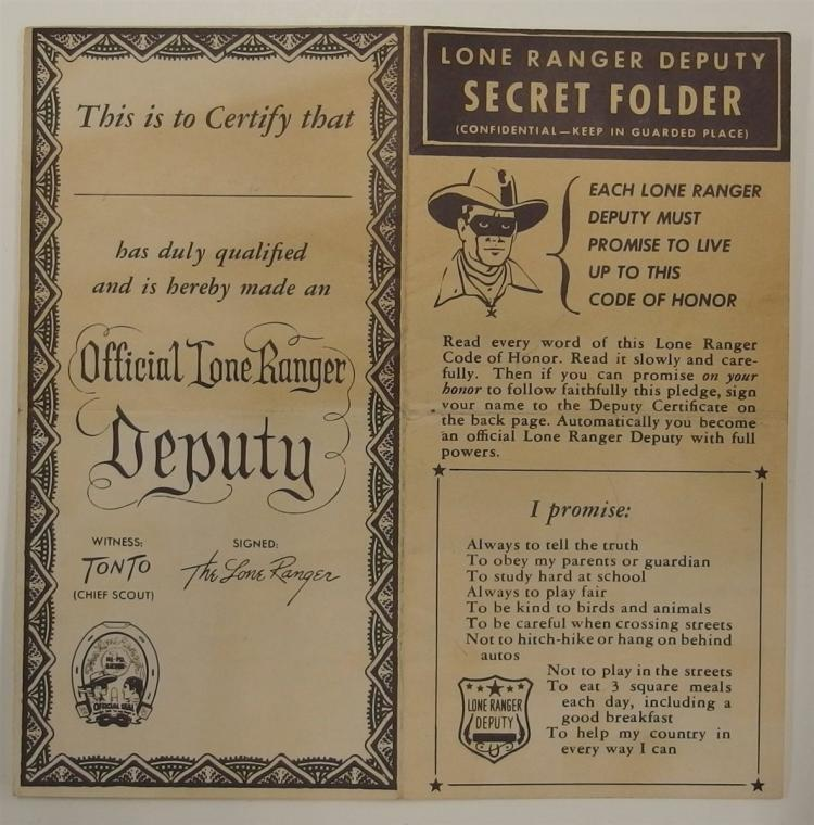 Official LONE RANGER DEPUTY CERTIFICATE Secret Folder, Secret Code Messages