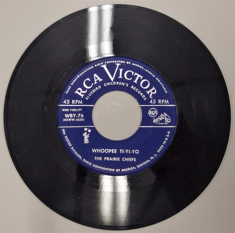 Lot 95: RCA Victor Record 45 GUNSMOKE Theme Song / WHOOPEE TI-YI-YO, Prairie Che ifs WBY-76