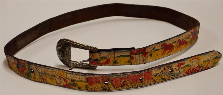 "Vintage RED RYDER Leather Belt, 36""L"