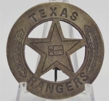 "Lot 107: Vintage TEXAS RANGER Badge, 1-3/4""D"