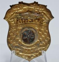 Lot 108: 1946 TOM MIX Ralston Straight Shooters Dobie County Sheriff's Badge with Siren, 2""